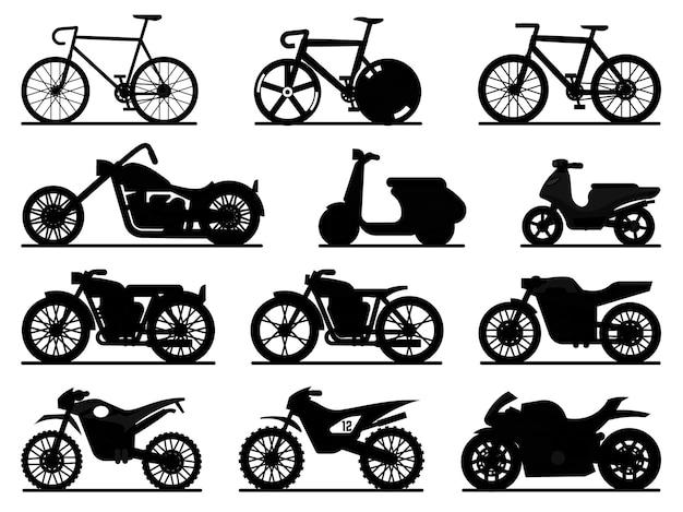 Набор мотоциклов черный силуэт. мотоциклы и скутеры, мотоциклы и чопперы. скоростная гонка и доставка ретро и современных транспортных средств, путешествующих и спортивных плоских векторных пиктограмм деталей автомобильного транспорта