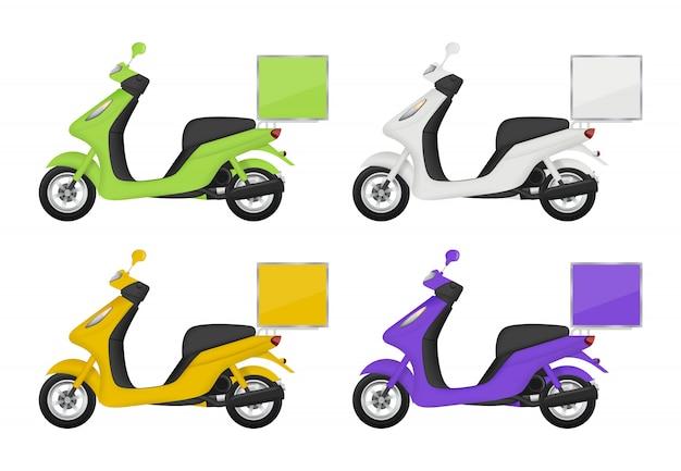 Мотоцикл цветной. виды службы доставки транспортного скутера сверху и снизу сзади 3d картинки изолированные