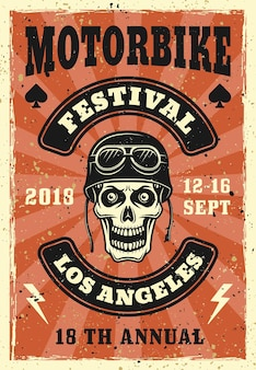 バイカー ヘルメットに頭蓋骨を持つバイク フェスティバル ポスター