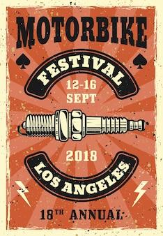スパーク プラグ付きバイク フェスティバル ビンテージ ポスター