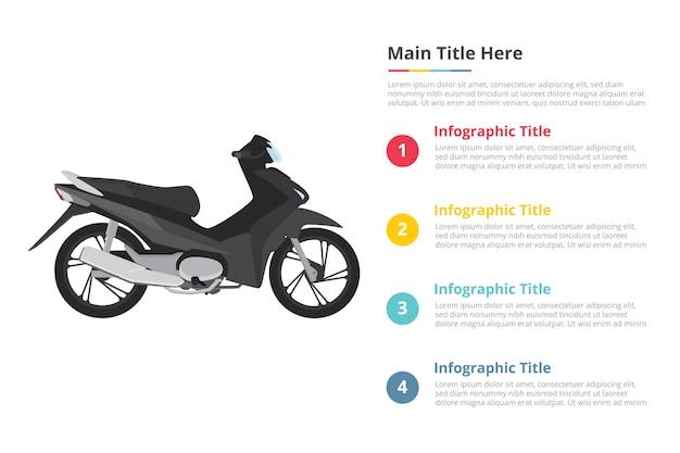 4 포인트와 오토바이 인포 그래픽 템플릿