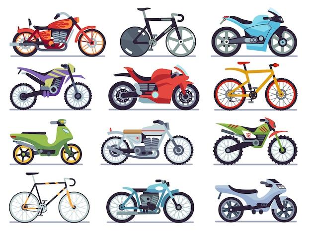 오토바이 세트. 오토바이 및 스쿠터, 자전거 및 헬기. 속도 경주 및 배달 복고풍 및 현대 차량 컬렉션