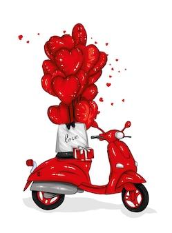 オートバイと風船の心