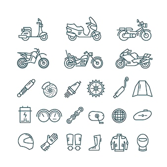 Motorcycle, auto parts and motorbike accessories line icons