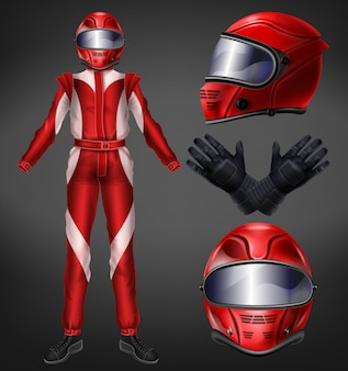 Motorcycle or auto racer, racing team driver suit, protective uniform with full-face helmet, black gloves, boots and red, one-piece overalls realistic vector illustration isolated on black background