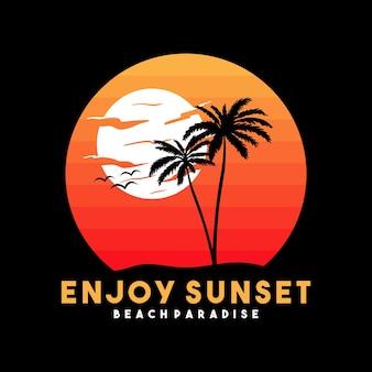 Мотоцикл пляжная типография для футболки с изображением пальмового пляжа и мотоцикла