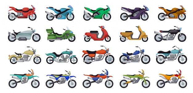 오토바이 만화 아이콘을 설정합니다. 그림 흰색 배경에 오토바이입니다. 격리 된 만화 아이콘 오토바이 설정합니다.