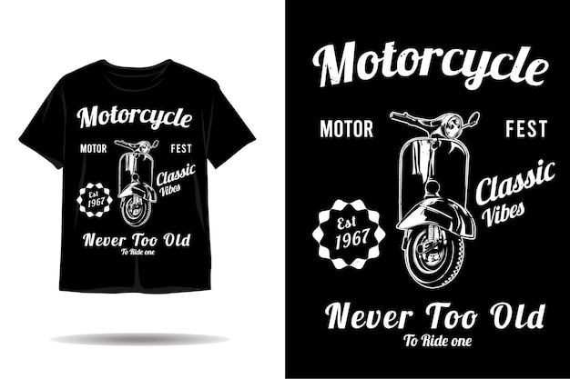 Motorcycle classic vibes silhouette tshirt design