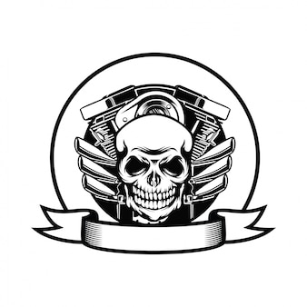Motorcycle club badge with engine and skull