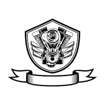 Motorcycle club  design with engine and skull