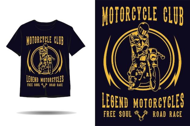 오토바이 클럽 전설 오토바이 실루엣 tshirt 디자인