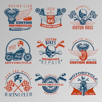 Motorcycle in color emblem set with descriptions of racing club custom bikes motor race born to ride and different vector illustration