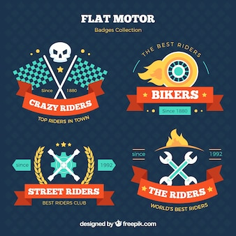 Motorcycle colorful badges