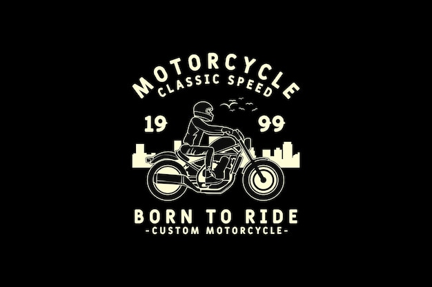Motorcycle, design silhouette retro style