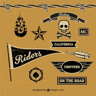 Motorcycle elements labels in black