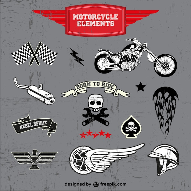 Motorcycle elements labels