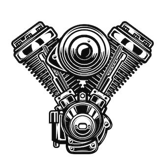 흰색 배경에 오토바이 엔진 그림입니다. 포스터, 상징, 기호, 배지 요소입니다. 삽화