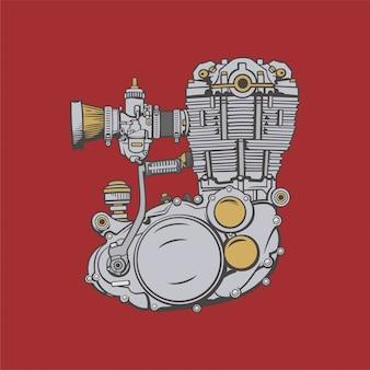 オートバイエンジンイラスト