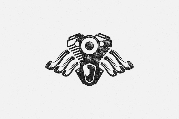 二輪車エンジンシルエット手描きインクスタンプ