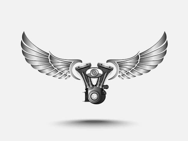 Motorcycle engine with wing