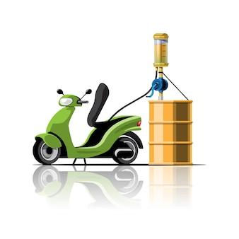 연료 핸드 펌프에서 오일을 채우는 오토바이