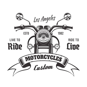 Motorcycle front view  monochrome vintage emblem with ribbon and sample text  on white background