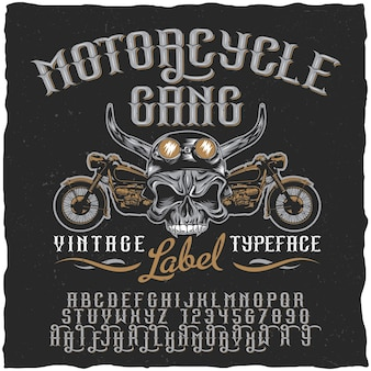 Motorcycle gang label typeface poster with skull at helmet and bikes illustration