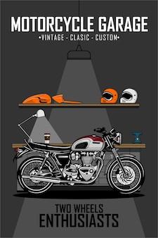 오토바이 차고 포스터 삽화