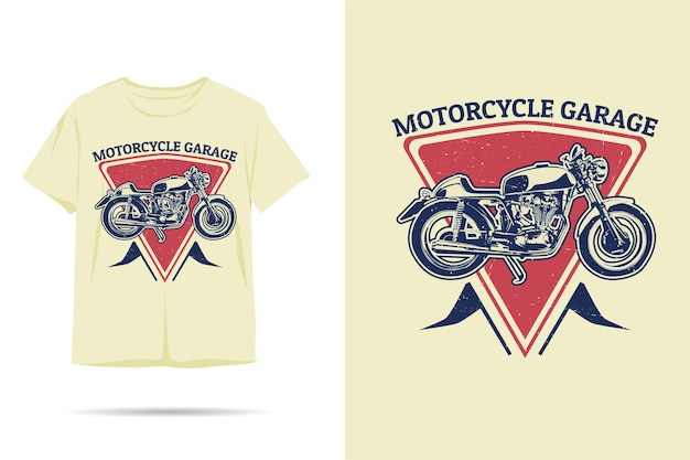 Motorcycle garage silhouette tshirt design