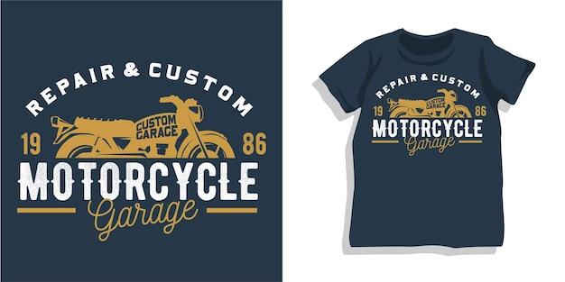 オートバイのガレージtシャツのデザイン