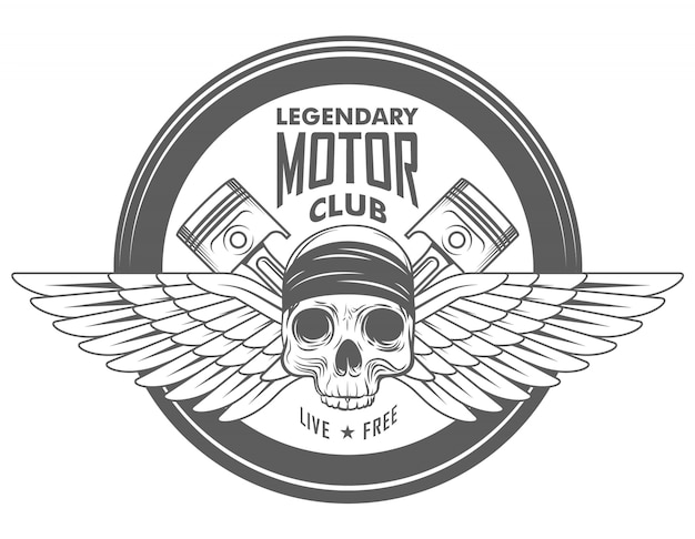 Motorcycle garage vector biker emblem, label or logo with skull in helmet and two crossed pistons in monochrome style