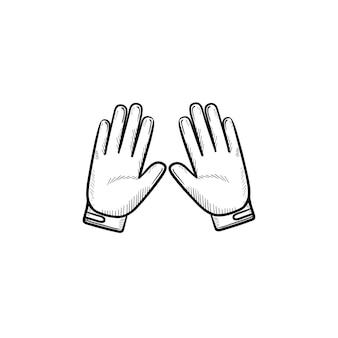 オートバイの手袋の手描きのアウトライン落書きアイコン。オートバイの付属品、スポーツ保護手袋の概念
