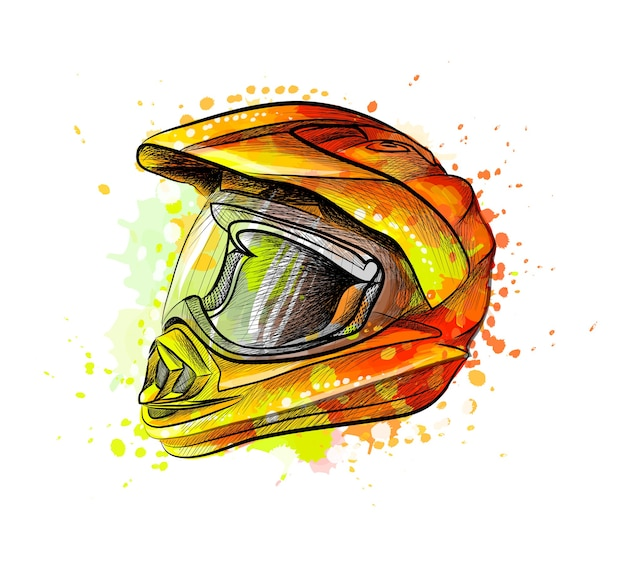 水彩のスプラッシュからオートバイのヘルメット、手描きのスケッチ。塗料のイラスト