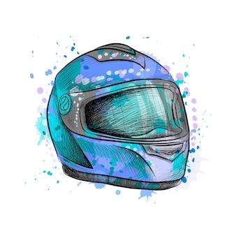 Мотоциклетный шлем из всплесков акварели, рисованный эскиз. иллюстрация красок