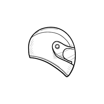 オートバイのヘルメットの手描きのアウトライン落書きアイコン。バイクの保護と速度、安全装置のコンセプト