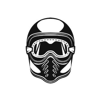 オートバイのヘルメットのモノクロスタイルのイラスト