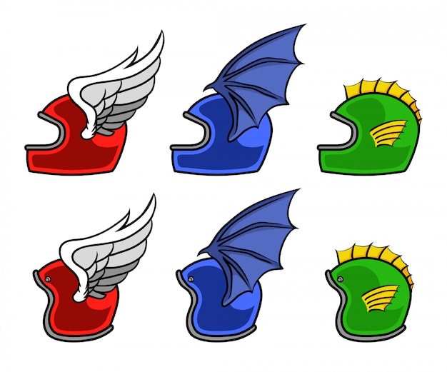 Motorcycle helmet with bird wing, bat wing and fish fin vector illustration set.