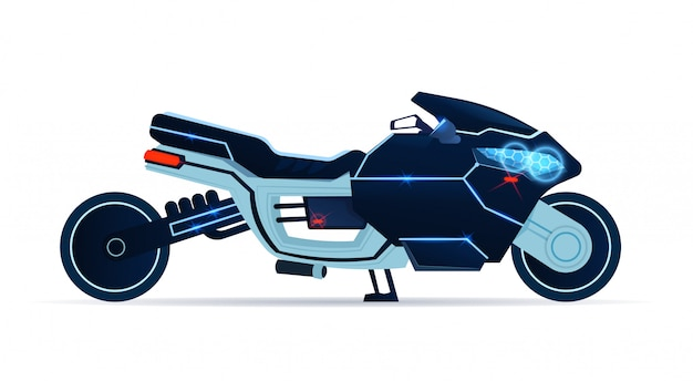 Motorcycle icon realistic blue sport motorbike isolated on while background