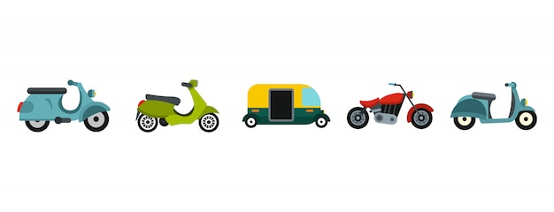 Motorcycle icon set. flat set of motorcycle vector icons collection isolated