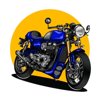 Motorcycle illustration with solid color