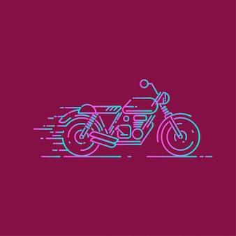 ダッシュ効果を持つオートバイの線アイコン