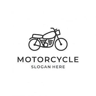 ラインアートスタイルのオートバイのロゴのコンセプト。