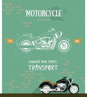 Motorcycle logo in flat and line style.