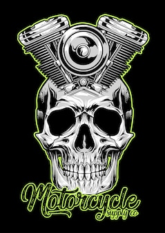 Motorcycle machine skull emblem