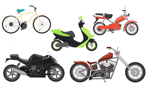 Motorcycle moped, speed motorbike set