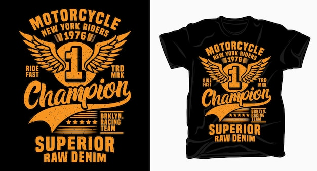 Motorcycle new york champion typography design for t shirt