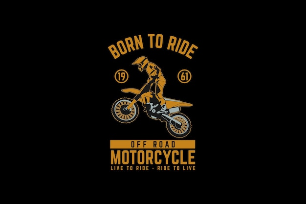 Motorcycle off road, design silhouette retro style