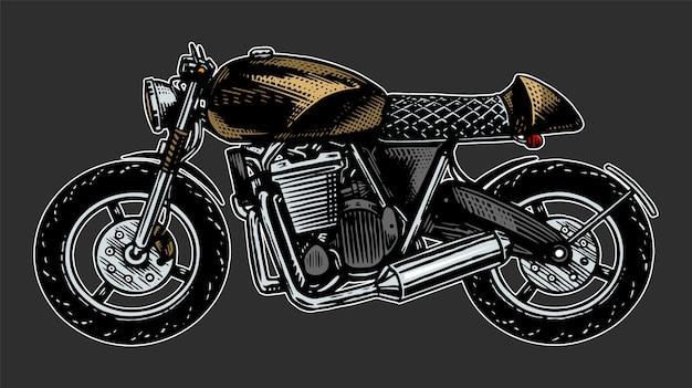 オートバイやバイク、レトロなモーター自転車。手描き刻まれたモノクロスケッチ