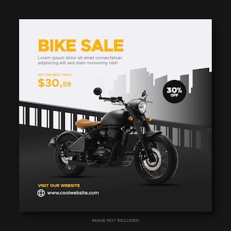 오토바이 또는 자전거 판매 촉진 소셜 미디어 페이스 북 표지 배너 템플릿
