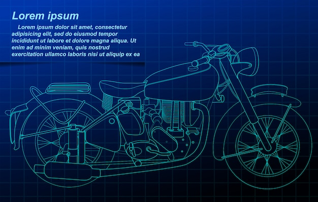Motorcycle outline on blueprint background.